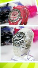 Wholesale Lot of 25 - Zebra Dial 1-line Crystal Bezel Woman Silicone Band Watch