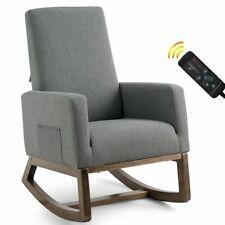 Mid Century Retro Fabric Upholstered Massage Rocking Chair