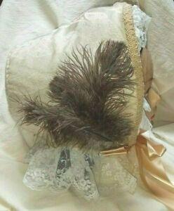 SPOON BONNET Reproduction 1860 Civil War Victorian Cream Colored Silk Handmade