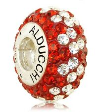Alducchi  Ruby Red - Clear  Swarovski Crystal 925 Silver European Charm Bead