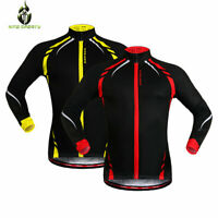 Winter Cycling Jacket Thermal Fleece Windproof Long Sleeve Coat Reflective Tops