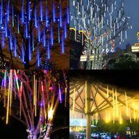 Solar Meteor Shower LED Fairy Lights Snowfall Rain Tube Party Garden Tree Lamps