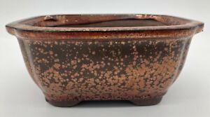 Orange Glazed Rectangular Bonsai Pot 16x12.5x7cm