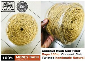 Coconut Husk Coir Fiber Rope 100m(320Foot) Coconut Coir Twisted handmade Natural