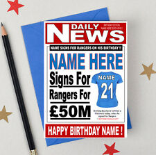 GLASGOW RANGERS FOOTBALL FAN Personalised Birthday Card! relation/name/number!!