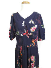 Eshakti Blue  Floral Crepe Fit & Flare Dress NWOT Flowers Lined Pockets  Size 12