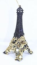 BLACK GOLD GLITTER EIFFEL TOWER CHRISTMAS TREE ORNAMENT HOLIDAY PARIS DECOR NEW!