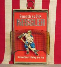 Vintage Kessler Whiskey Bar Advertsing Sign 3-D Ice Hockey Graphic Distillery