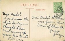 "Saltcoats. Mabel Weyman. 883 Govan Road, Govan, Glasgow Pollie "" Chute"" RL.799"