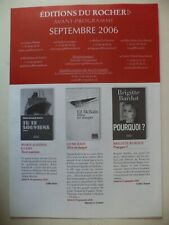 """Catalogue publicitaire éditions du Rocher - Brigitte Bardot """"Pourquoi ?"""" 2006"""