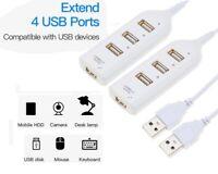 2 Pack  4-Port USB 2.0 High Speed Hub Splitter 480 Mbps for PC Laptop White