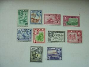 10 stamps Fiji KGVI all mounted mint 1/2d to 2/-