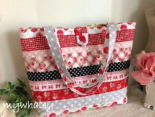 NEW! Red & PiNK Cherries & Ribbons~Polka-dots QUILTED SHOULDER TOTE Market Bag