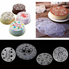 4 Pcs Variety Cake Cupcake Stencil Template Mold Birthday Spiral Decoration