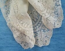 More details for an antique tambour embroidered net on net lace handkerchief