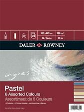 Daler Rowney : Ingres : Pastel Paper : 160gsm : 24 Sheets : 9x12in : 6 Colours