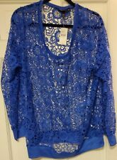 Lane Bryant Size 18/20 Openwork Blue Top Blouse NEW WITH TAGS!!