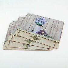 4-tlg. Tischset Platzset Platzmatten Untersetzer Holz Kork VINTAGE Lavendel NEU