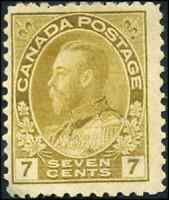 Canada #113 mint F-VF OG HHR 1916 King George V 7c yellow ochre Admiral CV$55.00