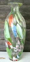 Large Hand Blown Art Glass Vase 13 inches high Green Orange Blue Glass