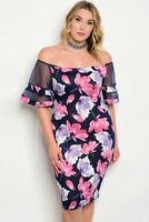 Womens Plus Size Navy Blue Floral Sheer Flutter Sleeve Bodycon Dress 1XL NEW