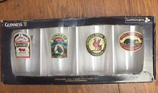 Set of 4 Luminarc Guinness Irish Draught Beer Pint Pub Glasses Nib