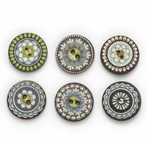 Navy Blue Series Retro Mixed Wood Buttons Handwork Sewing Scrapbook Cloth 50Pcs