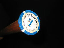 MW.429M: GENUINE LAS VEGAS BELLAGIO POKER CHIP TOP ON ASH WALKING STICK CANE
