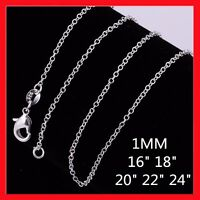 Wholesale Price 925 Sterling Silver Filled 1MM Rolo Link Necklace Chain 16 - 24""