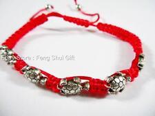 Tibet Silver Turtle Feng Shui Lucky Good Luck Longevity Charm String Bracelet #y