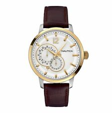 Nautica Men's NCT 15 Watch Brown Leather Strap Date 100m WR N16648G