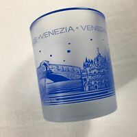 Venice Glass Cup Frosted Blue Drink Venedig Venezia Italy Collectible Italian