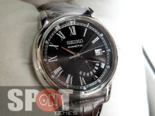 Seiko Kinetic Retrograde Day Indicator Brown Leather Strap Men's Watch SRN035P1