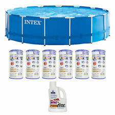 "Intex 15' x 48"" Pool Set with 6 Filter Cartridges + Natural Chemistry Phosfree"