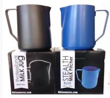 2 X Rhinowares Stealth Milk Espresso Jug Frother Teflon 950ml Black & Blue