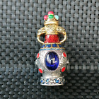 Ancient Chinese Silver and Blue Faceted Gemstone Art Snuff Bottle
