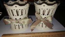 Set Of 2 Lenox Candle Holders Decorative Cups w 24K Gold Trim Never Used Look!