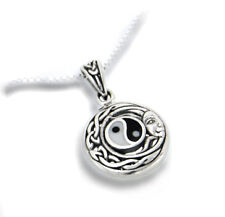 """Flowing Sun Yin-Yang Celtic Knot Pendant Sterling Silver 18"""" Chain Necklace"""
