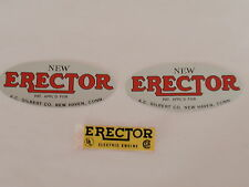 Fast Ship-3-Erector set labels for Boliers and Motor- Remakes Copies - Fast Ship
