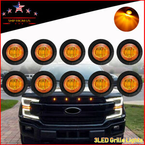 """10X 3/4"""" Round Mini Amber LED Grille Lights Push-In Front Grill Light 12V"""