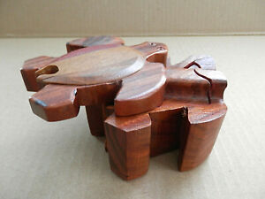 Handcrafted Wooden Turtle Puzzle Secret Jewelry Box