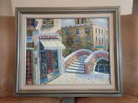 "M. Austin Signed Oil on canvas painting, Venetian Scene, Italy🍷16""x 20"" Framed"
