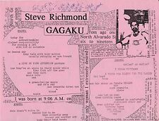 "STEVE RICHMOND ""GAGAKU"" POETRY BROADSIDE 1994 INSCRIBED & SIGNED BY THE POET"