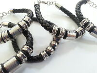 High Quality Black Leather Braided Titanium Bracelets Men's Women Gift Present