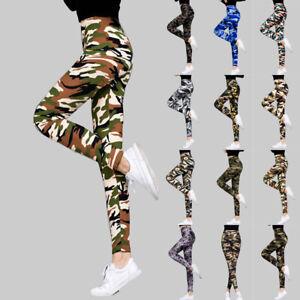 Women High Waist Camo Print Sports Fitness Gym Long Yoga Pants Leggings Trousers