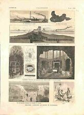 New-York Explosion Ecueil Flood-Rock Hellgate Puit Central de Mine GRAVURE 1885
