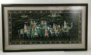 Large Framed Painting on Silk Moghul Indian People Elephants Camels Horses