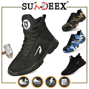 SUADEX Mens Safety Shoes Steel Toe Work Boots Combat Hiking Puncture Proof Boots