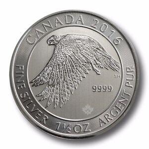 1.5 Ounce 2016  1 1//2 oz Canadian Falcon $8 .9999 Silver Encapsulated