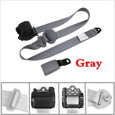 Iron Plate Style 3 Point Seat Belt Lap & Diagonal Belt Adjustable Seatbelts Gray